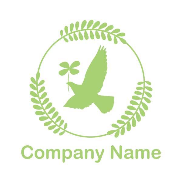 鳩と平和、自然がモチーフのロゴ
