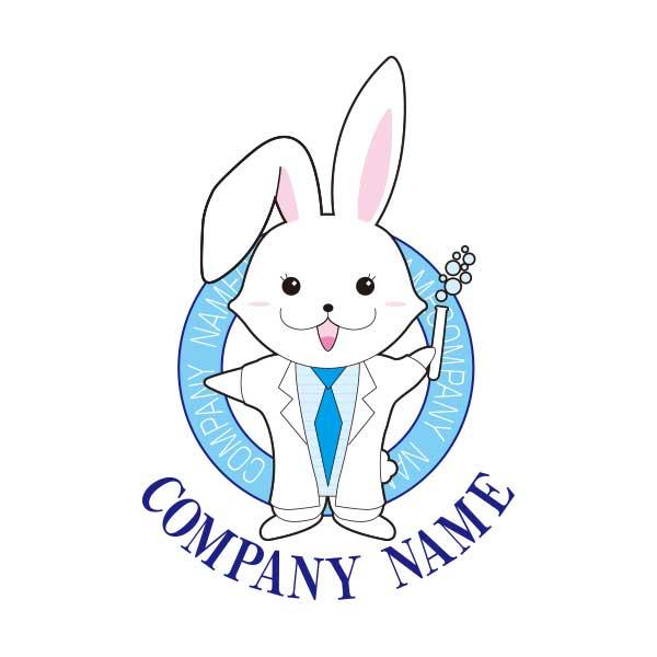 うさぎの研究員のマスコットのロゴ
