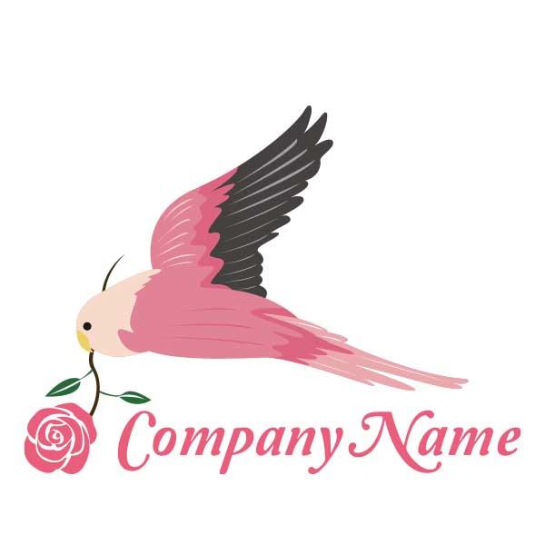 ロゴ作成NO.33/鳥とばらがモチーフのロゴ